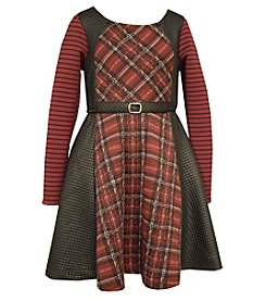 Bonnie Jean® Girls' 7-16 Belted Plaid Fit And Flare Dress