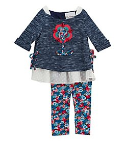 Rare Editions® Girls' 2T-6X 2-Piece Flower Applique Top And Leggings Set