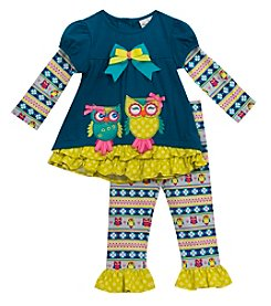 Rare Editions® Girls' 2T-6X 2-Piece Owl Applique Top And Leggings Set