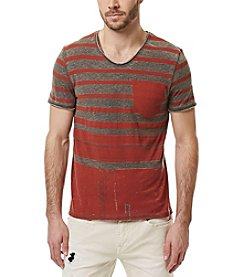 Buffalo by David Bitton Men's Kaburn Short Sleeve Striped V-Neck Tee