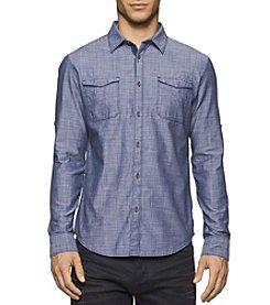 Calvin Klein Jeans® Men's Long Sleeve Navy Armada Military Button Down Shirt