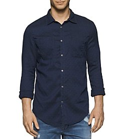 Calvin Klein Jeans® Men's Long Sleeve Dobby Button Down Shirt