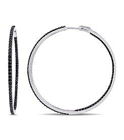 V1969 ITALIA Black Sapphire Hoop Earrings