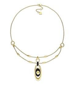 V1969 ITALIA Black Agate and Black Sapphire Sunflower Necklace