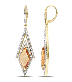V1969 ITALIA White Sapphire and Citrine Prism Drop Earrings