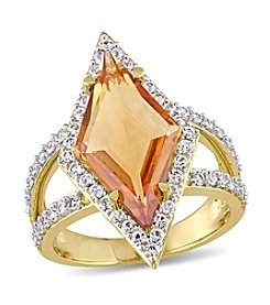 V1969 ITALIA Citrine and White Sapphire Prism Ring