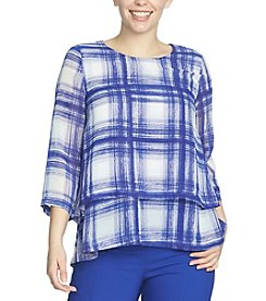 Chaus Double Layer Plaid Blouse