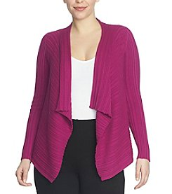 Chaus Ribbed Open Front Cardigan