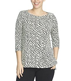 Chaus Zip Shoulder Zebra Jacquard Top