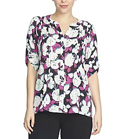 Chaus Gallery Flowers High Low Pintuck Blouses