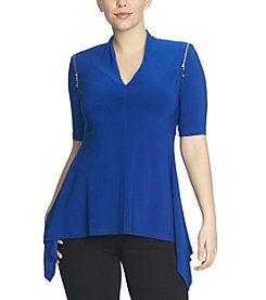 Chaus V-Neck Zipper Shoulder Sharkbite Top