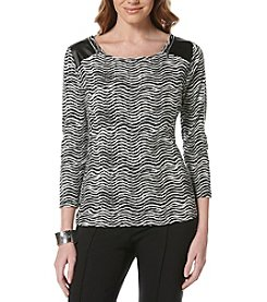 Rafaella® Wave Print Zip Shoulder Top