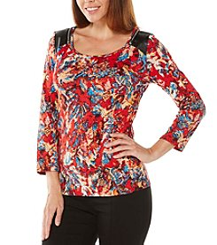 Rafaella® Abstract Print Zip Shoulder Top