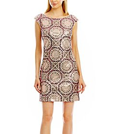 Nicole Miller New York Cap Sleeve Pattern Sequin Sheath Dress