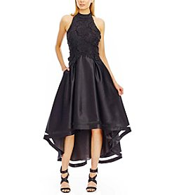 Nicole Miller New York™ 3D Lace Matte Satin High Low Dress
