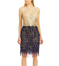 Nicole Miller New York® Two Piece Lace And Chiffon Fringe Dress