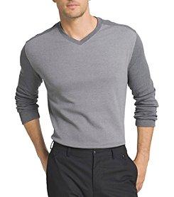Van Heusen® Men's Big & Tall Long Sleeve Jaspe Blocked V-Neck Sweater