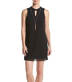 A. Byer Juniors' High Neck Keyhole Front Necklace Dress