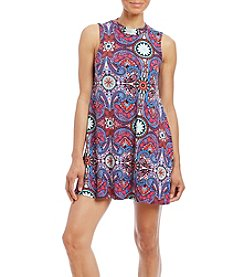 Pink Rose® Mock Neck Printed Swing Dress