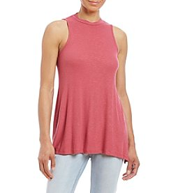 Pink Rose® High Neck Side Slit Tank Top