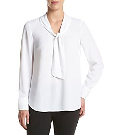 Kensie® Crepe Tie Neck Top