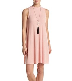 Sequin Hearts® Ribbed Mock Neck Dress With Necklace
