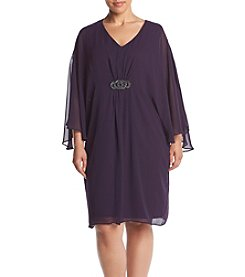 Connected® Plus Size Chiffon Overlay Shift Dress