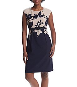 Connected® Petites' Cap Sleeve Belted Sheath Dress