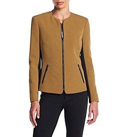 Kasper® Crepe Zipper Jacket