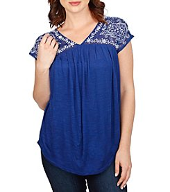 Lucky Brand® Embroidered Yoke Top