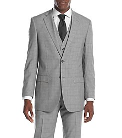 Perry Ellis® Men's Slim Fit Gray Plaid Suit Seperates Jacket