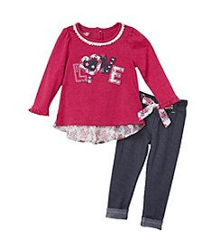 Nannette® Baby Girls' 2-Piece Love Tee And Knit Pants Set