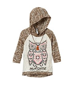 Beautees Girls' 7-16 3/4 Sleeve Owlsome Hoodie With Necklace