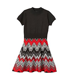 Sequin Hearts® Girls' 7-16 Chevron Fit And Flare Dress