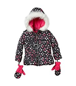 London Fog® Girls' 2T-6X Heart Puffer Jacket With Mittens