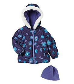 London Fog® Girls' 2T-6X Floral Puffer Jacket With Hat