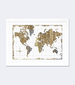 iCanvas Gilded Map by All That Glitters Framed Fine Art Paper Print