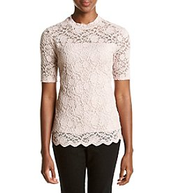 Ruff Hewn GREY Lace Mock Neck Top