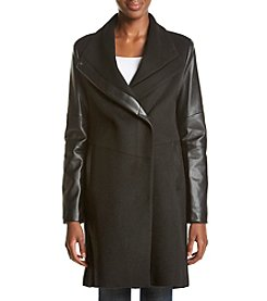 Vera Wang® Leather Color Block Coat
