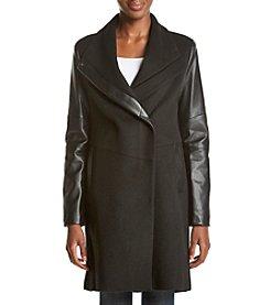 Vera Wang® Leather Color Block Coat