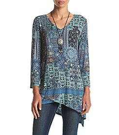 Oneworld® Geometric Print V-Neck Tunic