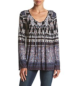 Oneworld® Printed Peasant Top
