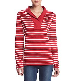 Studio Works® Petites' Shawl Collar Striped Top