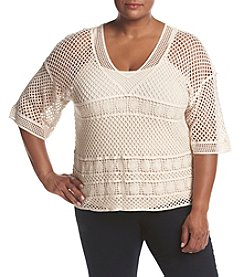 Democracy Plus Size Open Crochet Top