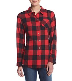 Ruff Hewn Petites' One Pocket Plaid Tunic