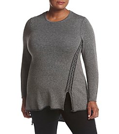 Ruff Hewn GREY Plus Size Plaited Drop Stitch Tunic