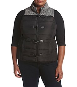 Ruff Hewn Plus Size Contrast Yoke Puffer Vest