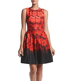 Calvin Klein Floral Print Fit And Flare Dress