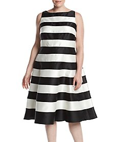 Adrianna Papell® Plus Size Striped Boat Neck Dress