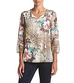 Alfred Dunner® Santa Fe 3/4 Sleeve Placed Skin Floral Tunic